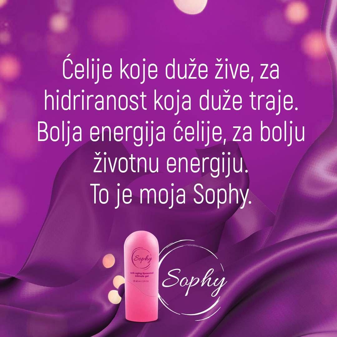 Sophy gel- celije koje suze zive i hidriranost koja traje. Bolja energija celije za bolji ph intimne regije.